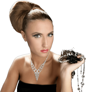 Wealthy woman holding jewelry.